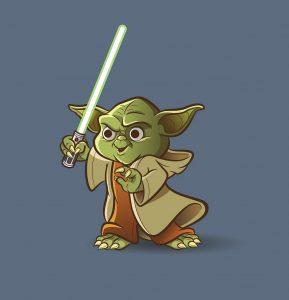 baby sabre laser Yoda avec sabre laser vert
