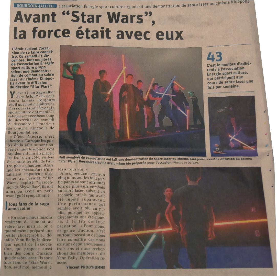 Article sur la représentation de sabre laser au cinéma Kinépolis de Bourgoin-Jallieu